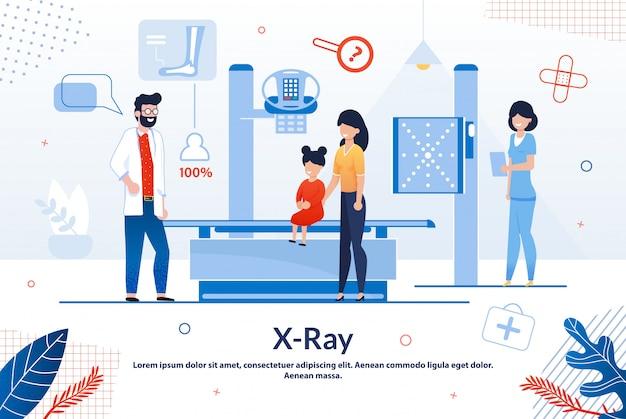 Cartaz informativo de raios-x laboratório cartoon plana.