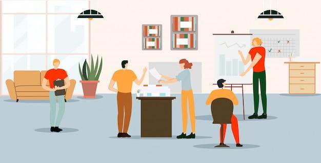 Cartaz informativo desenhos animados do espaço de trabalho do escritório.