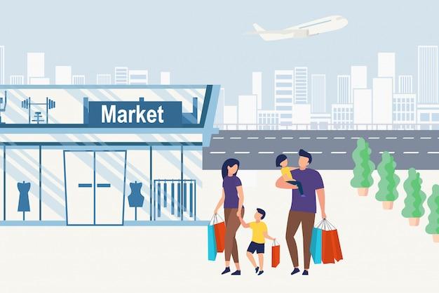 Cartaz informativo família vai às compras, desenhos animados.