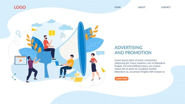 Cartaz inscrição publicidade e promoção.