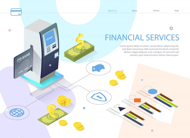 Cartaz inscrição serviço financeiro isométrico.