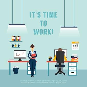 Cartaz interior do escritório com texto, é hora de trabalhar