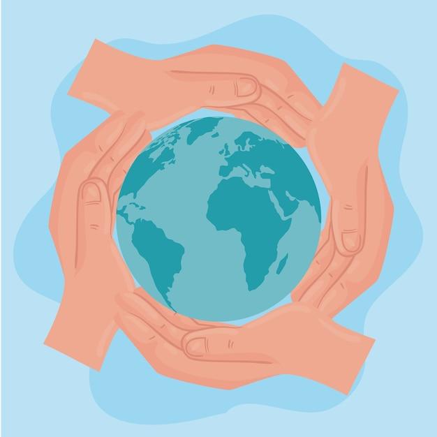 Cartaz internacional de direitos humanos com as mãos ao redor do design de ilustração mundial