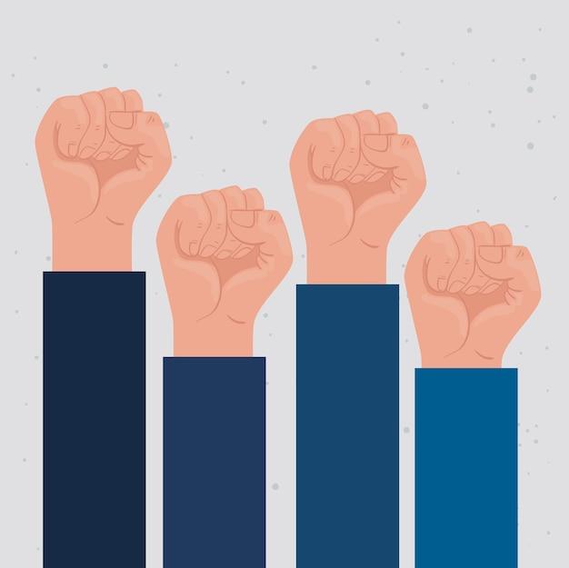 Cartaz internacional de direitos humanos com desenho de ilustração de lutadores de mão ao alto