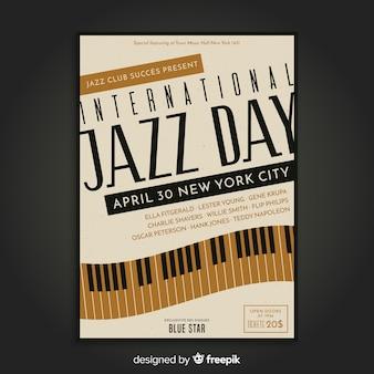 Cartaz internacional do dia do jazz do vintage
