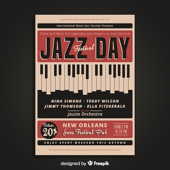 Cartaz internacional do dia do jazz do vintage