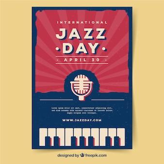 Cartaz internacional do dia do jazz no estilo do vintage