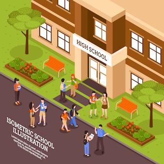 Cartaz isométrico da entrada do prédio da escola