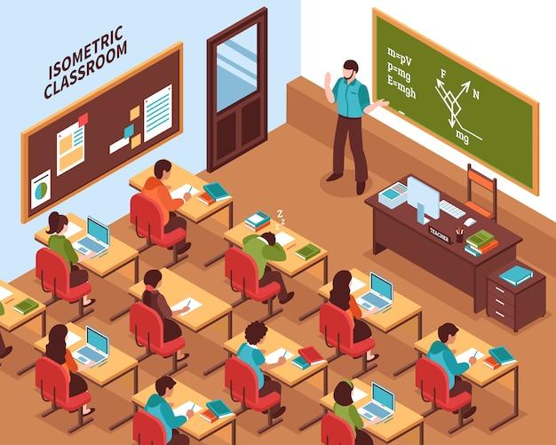 Cartaz isométrico da lição da sala de aula da escola