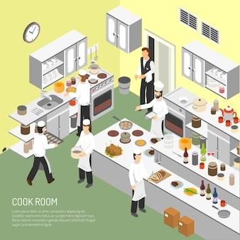 Cartaz isométrico da sala de culinária do restaurante