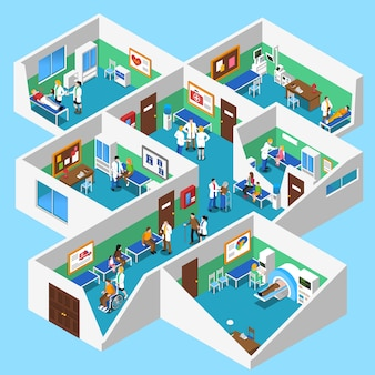 Cartaz isométrico da vista interior das facilidades do hospital