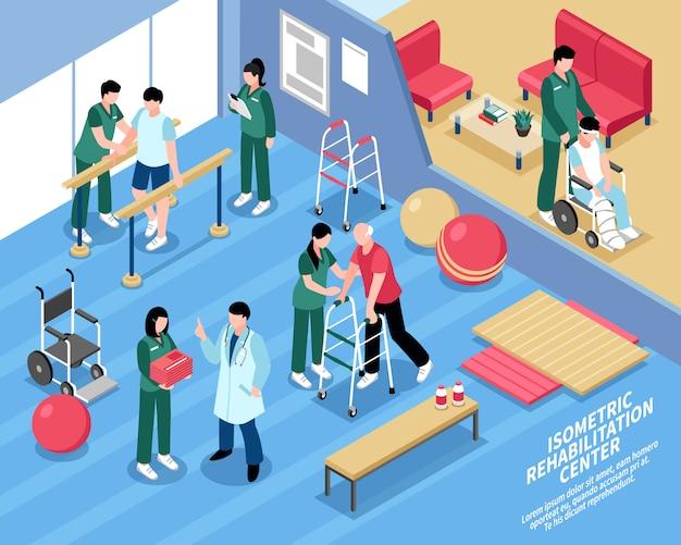 Cartaz isométrico das enfermeiras do centro de reabilitação