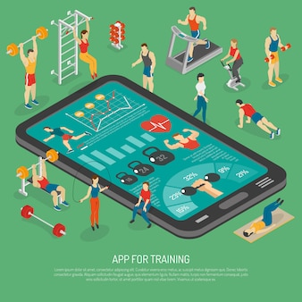 Cartaz isométrico de apps dos acessórios de smartphone da aptidão