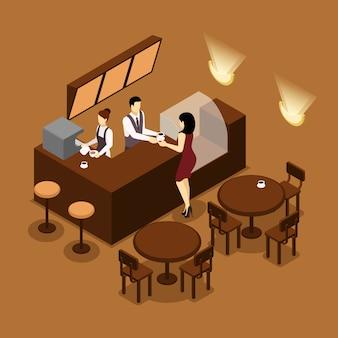 Cartaz isométrico de brown do cliente do serviço de barista