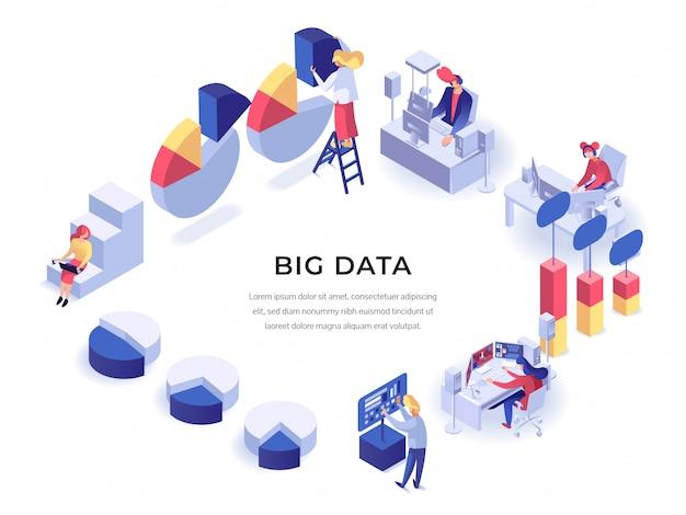 Cartaz isométrico de grande volume de dados