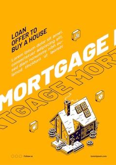 Cartaz isométrico de hipoteca.