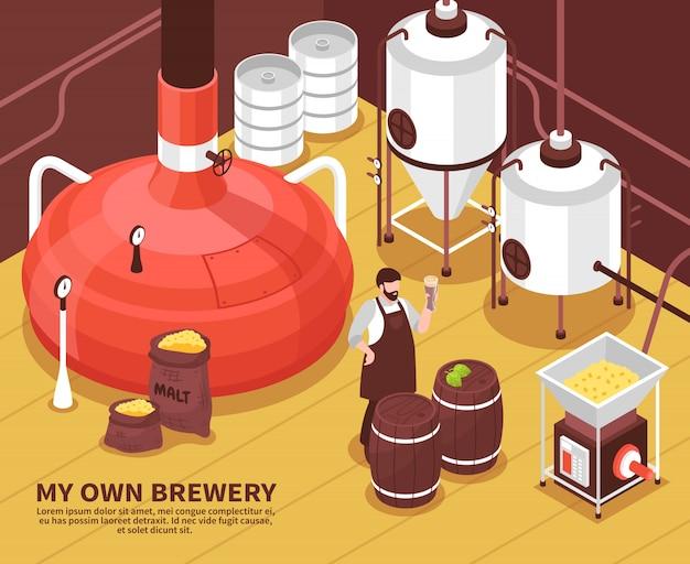 Cartaz isométrico do proprietário da cervejaria