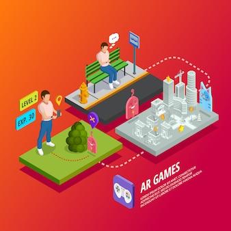Cartaz isométrico dos jogos aumentados da realidade ar