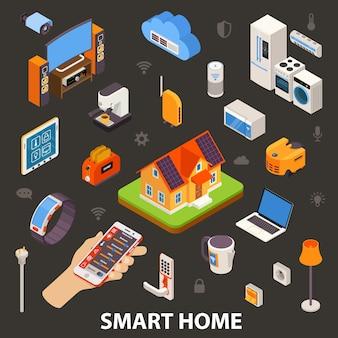 Cartaz isométrico esperto dos dispositivos eletrónicos da casa