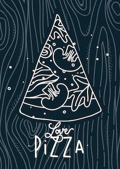 Cartaz lettering amor pizza desenho com linhas cinza sobre fundo azul