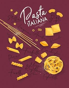 Cartaz lettering pasta italiana com muitos tipos de macarrão, desenho em fundo carmesim.