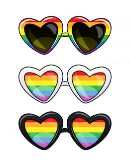 Cartaz lgbt de um óculos em armação de plástico. conjunto de óculos de sol de forma de coração com lentes de arco-íris.