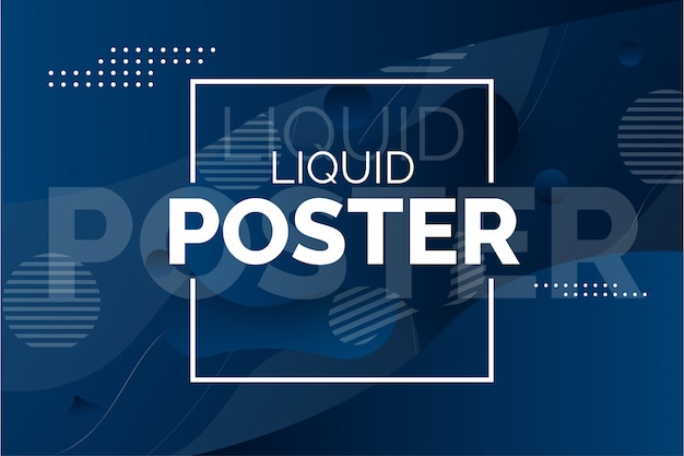 Cartaz líquido moderno com ondas abstratas