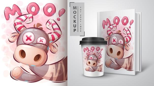 Cartaz louco de vaca e merchandising
