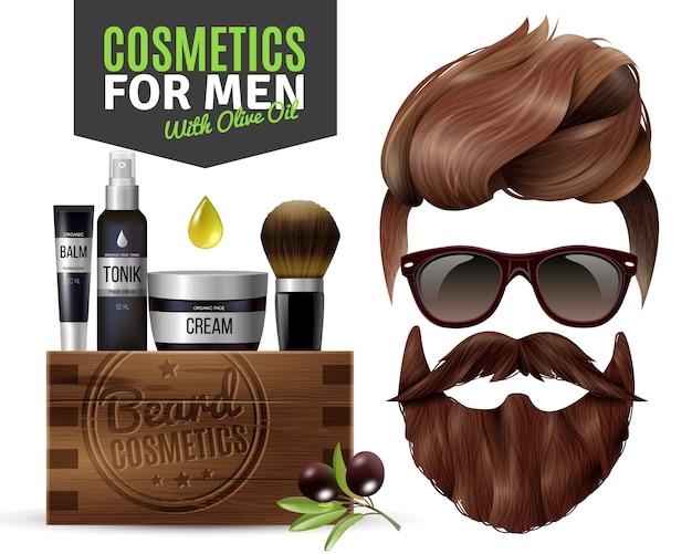Cartaz masculino realista de cosméticos
