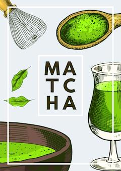 Cartaz matcha com detalhes verdes