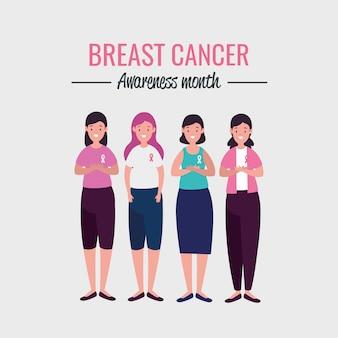 Cartaz mês da conscientização do câncer de mama com o grupo de mulheres
