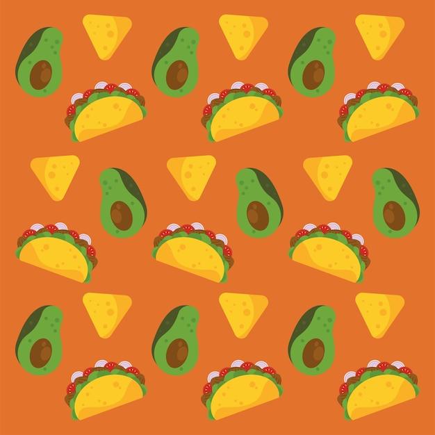 Cartaz mexicano de celebração do dia de taco com padrão de abacates e nachos.