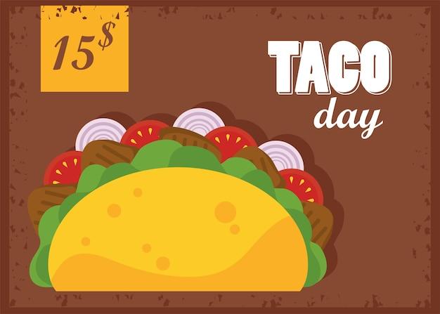 Cartaz mexicano de celebração do dia do taco com etiqueta de preço em fundo marrom.