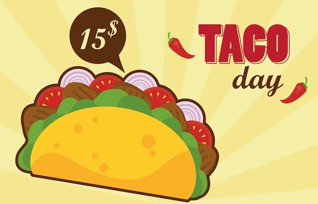Cartaz mexicano de celebração do dia do taco com etiqueta de preço.