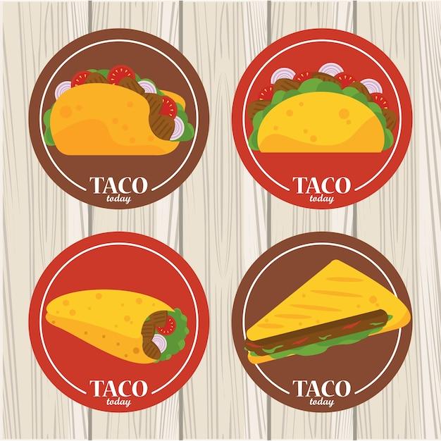 Cartaz mexicano de celebração do dia do taco com menu de tacos no fundo de madeira.