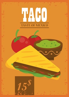 Cartaz mexicano de celebração do dia do taco com molho de guacamole e tomate.