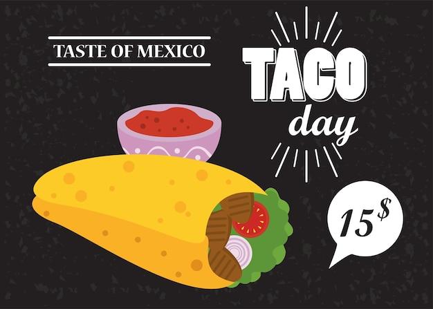 Cartaz mexicano de celebração do dia do taco com molho de tomate e preço.