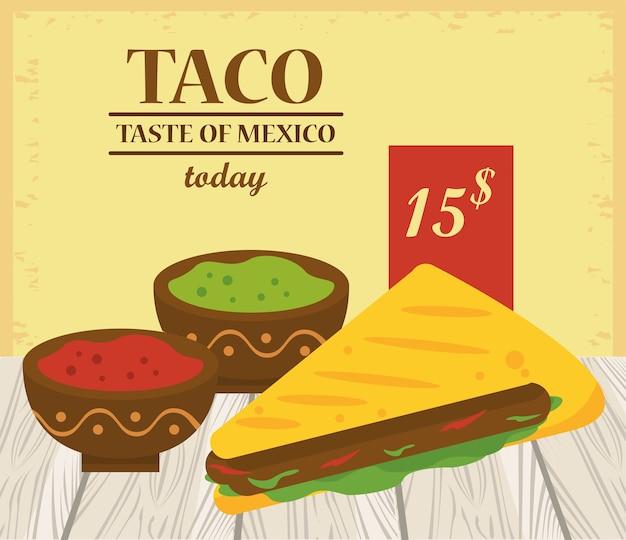 Cartaz mexicano de celebração do dia do taco com molhos de tomate e guacamole.