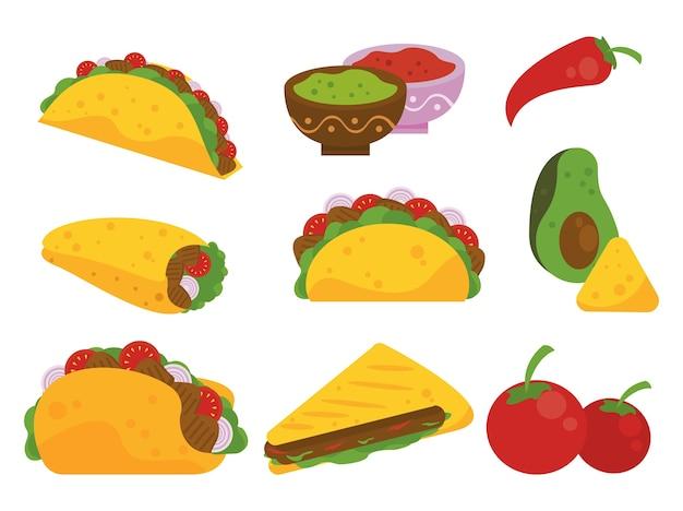 Cartaz mexicano de celebração do dia do taco com padrão de tacos e vegetais.