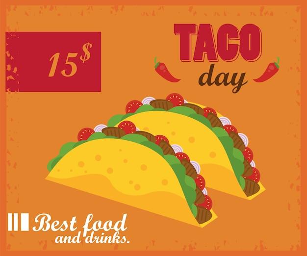 Cartaz mexicano de celebração do dia do taco com tacos e preço.