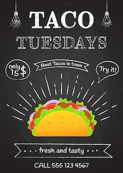 Cartaz mexicano tradicional do fast food taco terça-feira