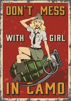 Cartaz militar retrô com pin up girl