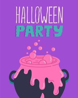 Cartaz moderno da festa de halloween com caldeirão. convite ou cartão de felicitações, texto assustador. caligrafia manuscrita. modelos de ilustração vetorial assustadores para impressões ou camisetas isoladas em fundo roxo