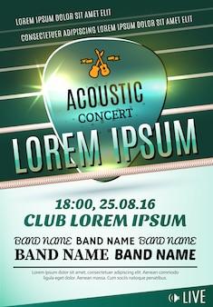 Cartaz moderno para um concerto acústico ou festival de rock. ilustração