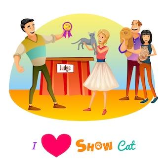 Cartaz mostra gatos.
