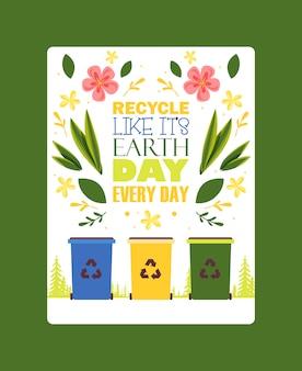 Cartaz motivacional de classificação do lixo diferentes lixeiras de classificação