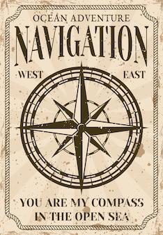 Cartaz náutico em estilo vintage com ilustração de bússola