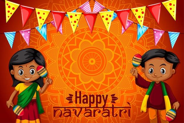 Cartaz navaratri com padrão de mandala e crianças felizes