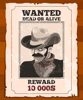Cartaz ocidental no pergaminho velho. bandido selvagem procurado. cartaz de vetor