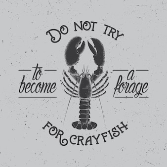 Cartaz original do spirit com imagem de lagostins na ilustração cinza